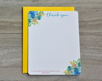 Personalized Christian Stationery Set | Flat Note Cards |  Scripture Stationery | Watercolor Spring Floral Corners Mix | Set of 12+Envelopes