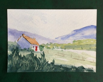 Landscape ORIGINAL Miniature Watercolour Hillside ACEO English countryside Watercolor painting For him For her Home decor Wall art Gift Idea