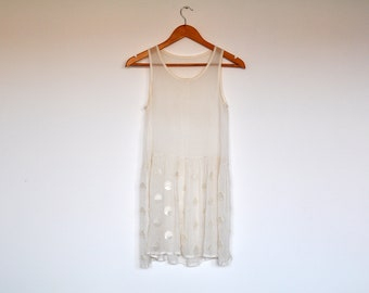 Vintage Sheer Off White Loose Fit Summer Dress Tunic Blouse