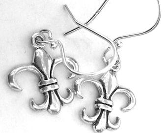 Fleur De Lis Earrings in Sterling Silver .