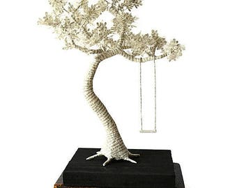 Book Paper Sculpture - Paper Tree with swing on wood - Made To Order