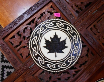 "6.5"" Maple Leaf Pyrography Art - Wood Art, Maple Leaf Wall Art, New England Art, Spiritual Wall Art"