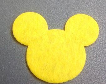 Mickey yellow 30x35mm felt applique