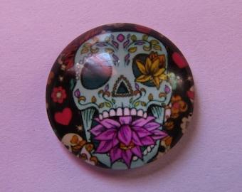 1babochon glass skull theme 20mm
