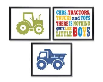 Cars Tractors Trucks & Toys Toddler boy room decor Like Little Boys Quote Wall art Boys Room art prints set of 3 Toddler boy poster 5x7 art