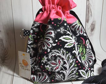 Medium Drawstring Project Bag- Pink and Black Floral - Knitting- Crochet- Needlearts- Crafting- Artist
