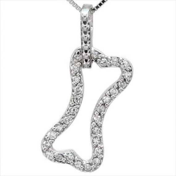 Diamond dog pave diamonds dog necklace dog bone necklace in like this item aloadofball Gallery