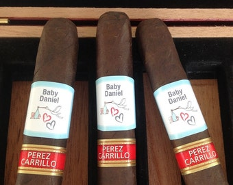 Baby Announcement Cigar Labels Party Favor We're Pregnant! Cigar Labels Baby Shower Cigar Labels Personalize Colors Text Photo Waterproof