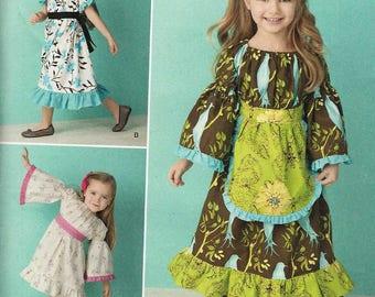 Simplicity 1595 Girls Dress gathered neckline short or long sleeves hem edging variations Size 4-5-6-7-8 uncut sewing pattern