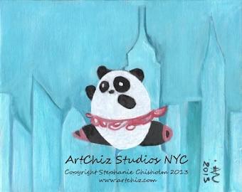 New York Panda Tutu. Ballet Art Print. Panda Bear Art. New York Skyline. Pink Tutu. Dance Recital Gift. Kids Art Print. - NY Panda Tutu-