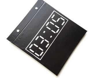 Race Bib Holder - Digital Clock Time Number - Boston Qualifier - Custom Chip Finish Time - Hand-bound Book for Running bibs - Black/ LT Gray
