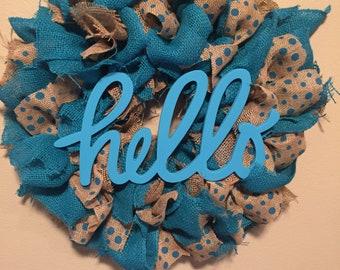 "Aqua Polka Dot ""Hello"" Wreath"