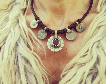TRIBAL leather necklace, boho, vintage
