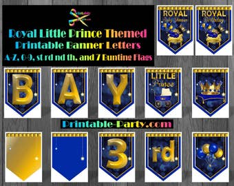 8x10.5 Inch Royal Prince Printable Banner Letters and Numbers A-Z 0-9