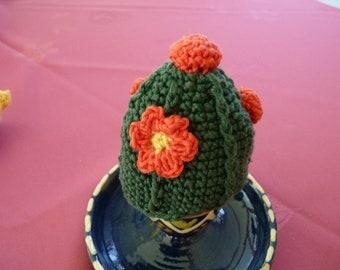 Hat of egg warmer, egg, cotton crochet cactus flower