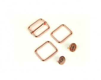 Holly Hardware Kit in Copper - Slider Buckle, Magnetic Snap and Rectangle Rings - by Sallie Tomato
