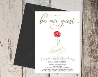 Beauty & the Beast Bridal Shower Invitation Template - Printable Fairytale Invite, Red Rose, Gold, Wedding Instant Download Digital File PDF