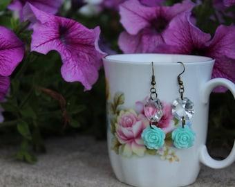 Sky Blue Rose Earrings