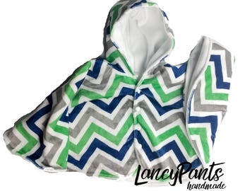 Size 2 ready to ship blue green chevron cuddle minky fleece car seat poncho - winter kids children's poncho -infant poncho - toddler poncho