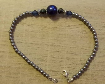 Ankle bracelet blue beads