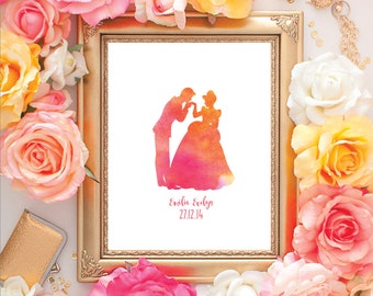 Disney Cinderella Couple Water Colour Gift Print