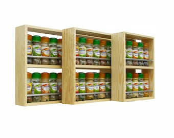 Solid Pine Spice Rack Contemporary Style 2 Shelves Freestanding or Wall Mounted Kitchen Storage