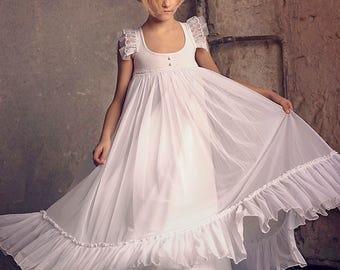 First Communion Dress, Flower Girl White Chiffon  Dress, Boho-chic Girls Dress,Chiffon dress girls, Boho flower girl dress, Bohemian Wedding