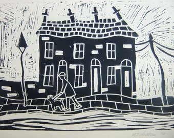 "Handmade  lino block print ""Walkies"""