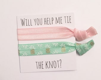 Bridrsmaid hair tie favors//baby pink green pineapple//party favor//hair tie card//bridesmaid gift