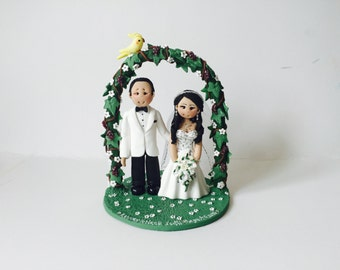Garden meadow, vineyard theme wedding cake topper- Custom made bride and groom under a willow arch wedding cake topper