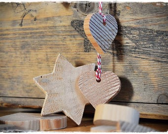 hangers stars and hearts solid wood