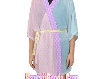 Starry Colorblock Pastel Yume Kawaii Kimono Robe Cardigan Top, Fairykei Top