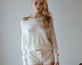 Merino Wool lingerie shorts in sweater knit with drawstring waist - ready to ship - size small
