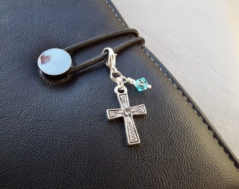 Cross Planner Charm Bible Cover Zipper Pull Silver Tone Metal Cross Midori Travelers Notebook Clip On Prayer Journal Planner Accessories