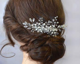 Wedding Bridal hair comb Bridal Wedding hair piece Bridal hair jewelry Crystal Bridal headpiece Pearl Crystal hair comb Pearl hair jewelry