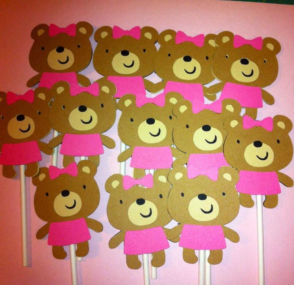 Set of 12 Teddy Bear Cupcake Toppers Teddy Bear Theme Party