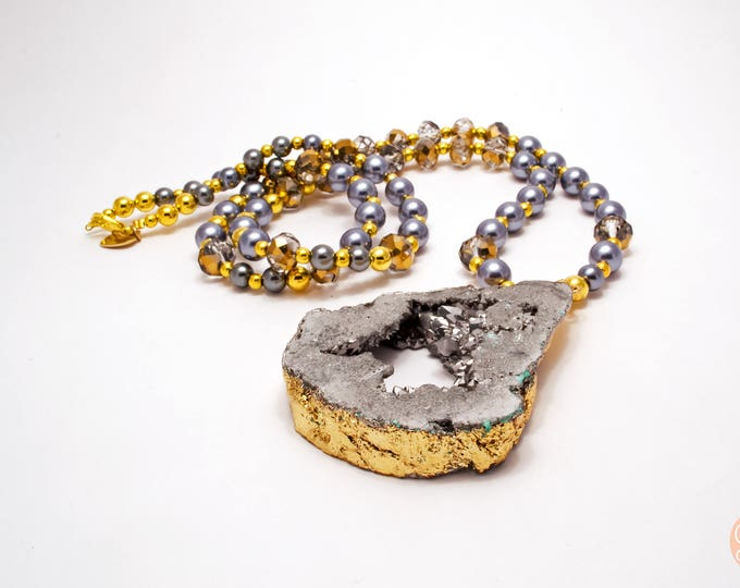 Grey and Gold Geode Statement Necklace.