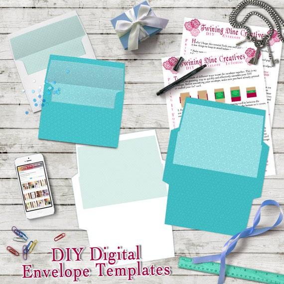 Captivating DIY Envelope Template, A7 5x7 Envelope Template, Digital Download, Teal  Aqua Blue White Envelope Template, DIY Printable, Tutorial Included From ...