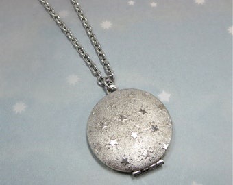 Star Locket Silver Star Locket Round Silver Locket Celestial Locket Rhodium Chain Gift Jewelry