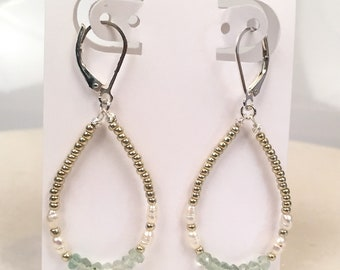 Reminiscent of Sea glass, hoops of fluorite & Freshwater pearls on Sterling Silver earwire