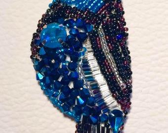 Blue Bird beads, bird brooch pin