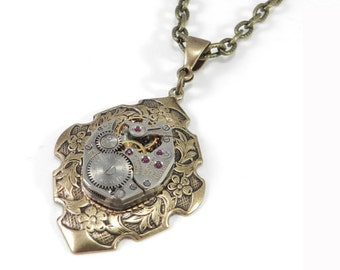 Steampunk Necklace, Petite Steampunk Necklace, Antique Watch Movement, Brass, Steampunk Jewelry by Compass Rose Design