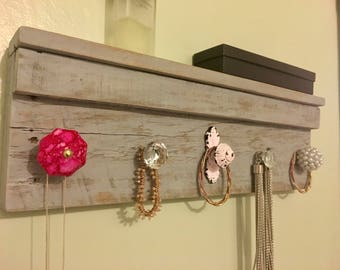Wall Mounted Jewelry Organizer, Rustic Jewelry Holder, Necklace Hanger, Wood Jewelry Rack, Gifts for Her, Boho Decor, Shabby Chic