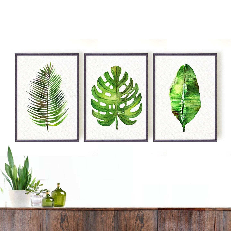Monstera print palm leaf art print botanical print set for Large prints for sale