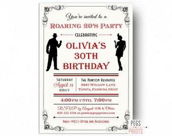 Roaring 20s Invitation - Printable 1920s Invitations - Roaring 20s Birthday Invitation - Great Gatsby Birthday Invitation - Flapper Girl