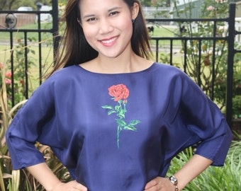 100% Silk long sleeve blouse with hand painting Rose