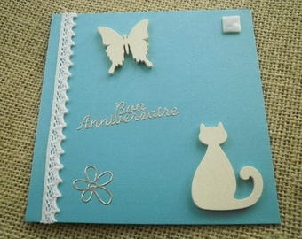 Square double card turquoise, cat and Butterfly decorations + matching envelope