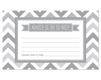 Chevron Gray Advice Cards - 18 Helpful Hints Cards for a Baby Shower, Birthday Party or Bridal Shower