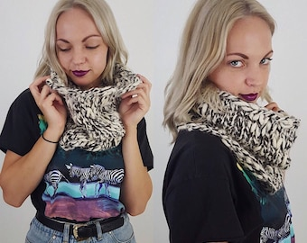 Handknit Handmade Cream Brown Circle Scarf - Boho Hipster Art Fashion Womens Accessory - Soft Warm Fall Winter Upcycled Yarn Cowl Scarf