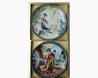 Vintage Pair of Chinoiserie Plates - Imperial Jingdezhen Porcelain Plates - Beautiful Chinoiserie Decoration - 1980's -